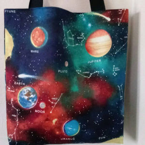 Blue Galaxy Stars And Planets Space Tote